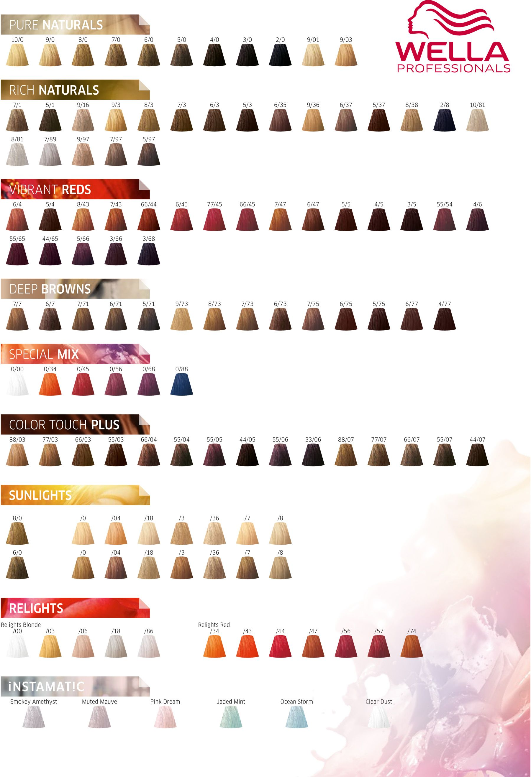 Wella Professionals Color Touch Color Chart 2017.