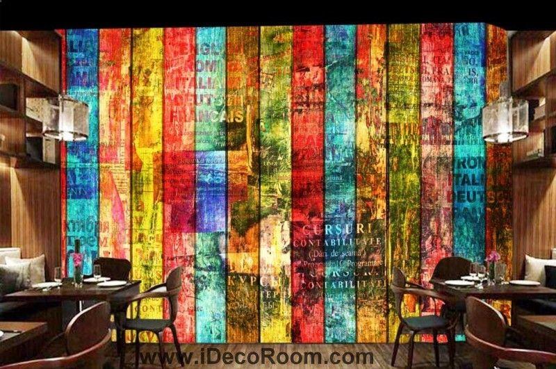 Bunte h?lzerne Wand Kunst Wandtapeten Decals druckt Dekor IDCWP-JB