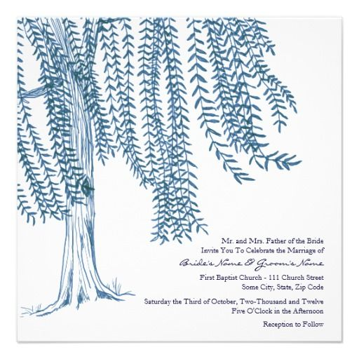 Blue and White Willow Tree Wedding Invitation | Zazzle.com