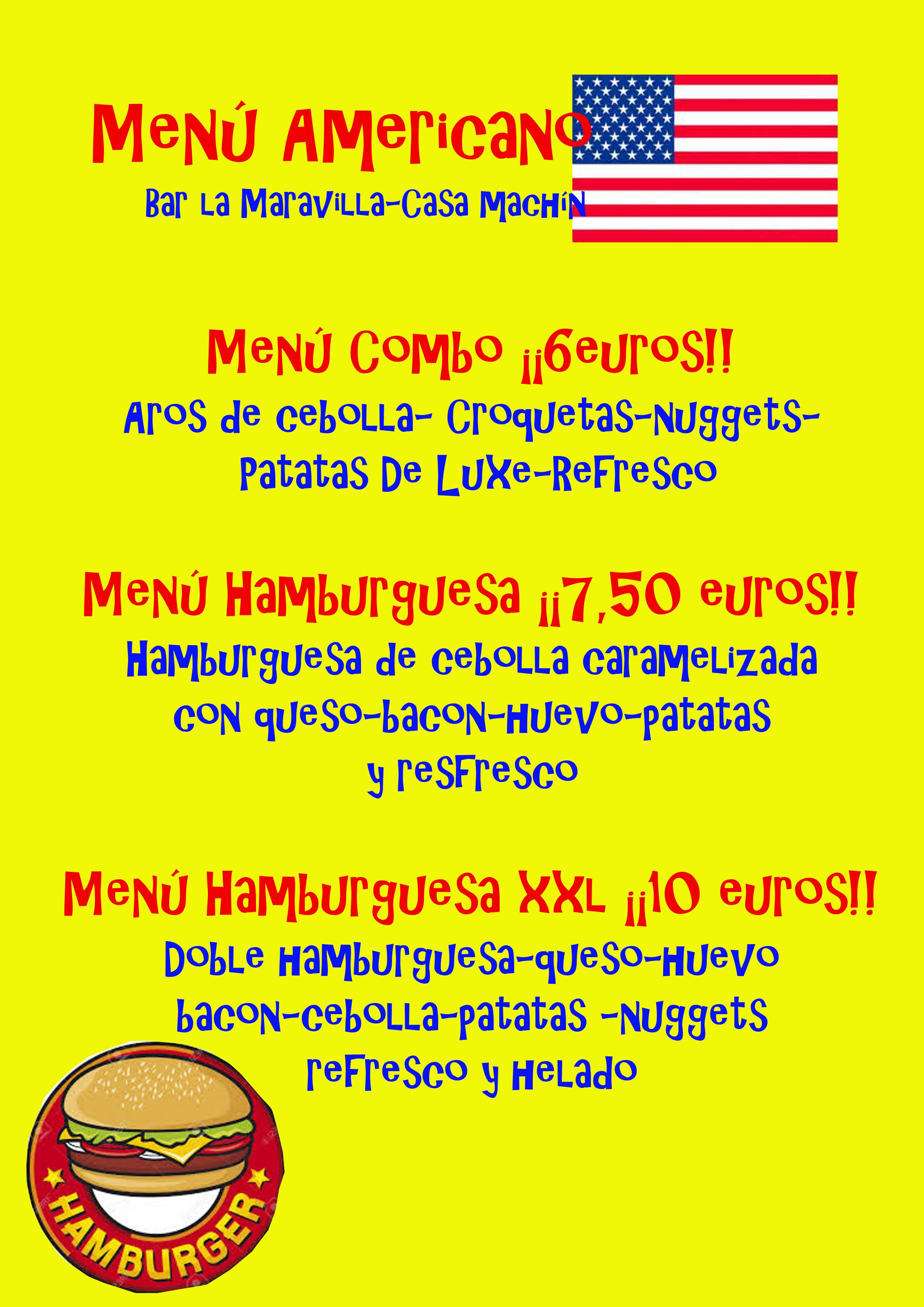 Menu Americano. Marzo