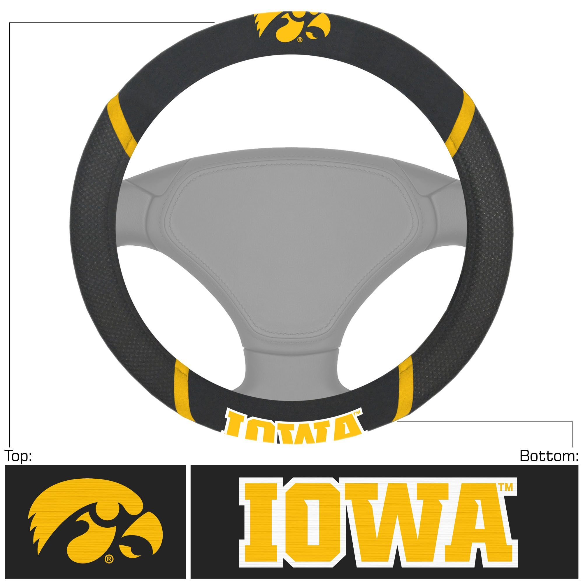 """University of Iowa Steering Wheel Cover 15x15 - Dress up the interior of your vehicle with a steering wheel cover featuring your favorite team. Logo and team name are embroidered. Made of mesh fabric and faux suede. They stay cool in the summer and warm in the winter. Universal fit makes it perfect for most vehicles. FANMATS Series: STEERCOVERTeam Series: University of IowaProduct Dimensions: 15""""x15""""Shipping Dimensions: 15""""x15""""x1"""". Gifts > Licensed Gifts > Ncaa > All Colleges > University Of…"""