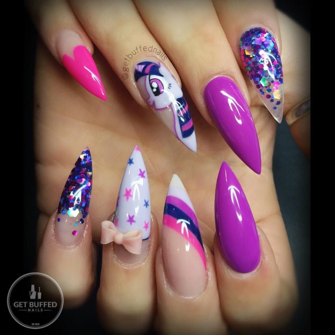 My little pony stilleto nails pinterest trulynessa89 nail how cute my little pony nail art if only this was in applejack prinsesfo Gallery