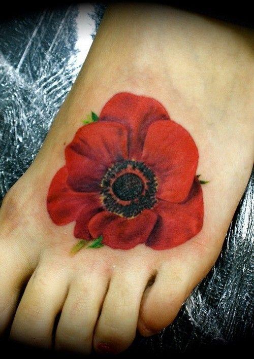 Realistic Poppy Flower Tattoo On Foot Jpg 500 708 Mit Bildern Mohn Blume Tattoo Tattoos Fuss Tattoos Uberdecken