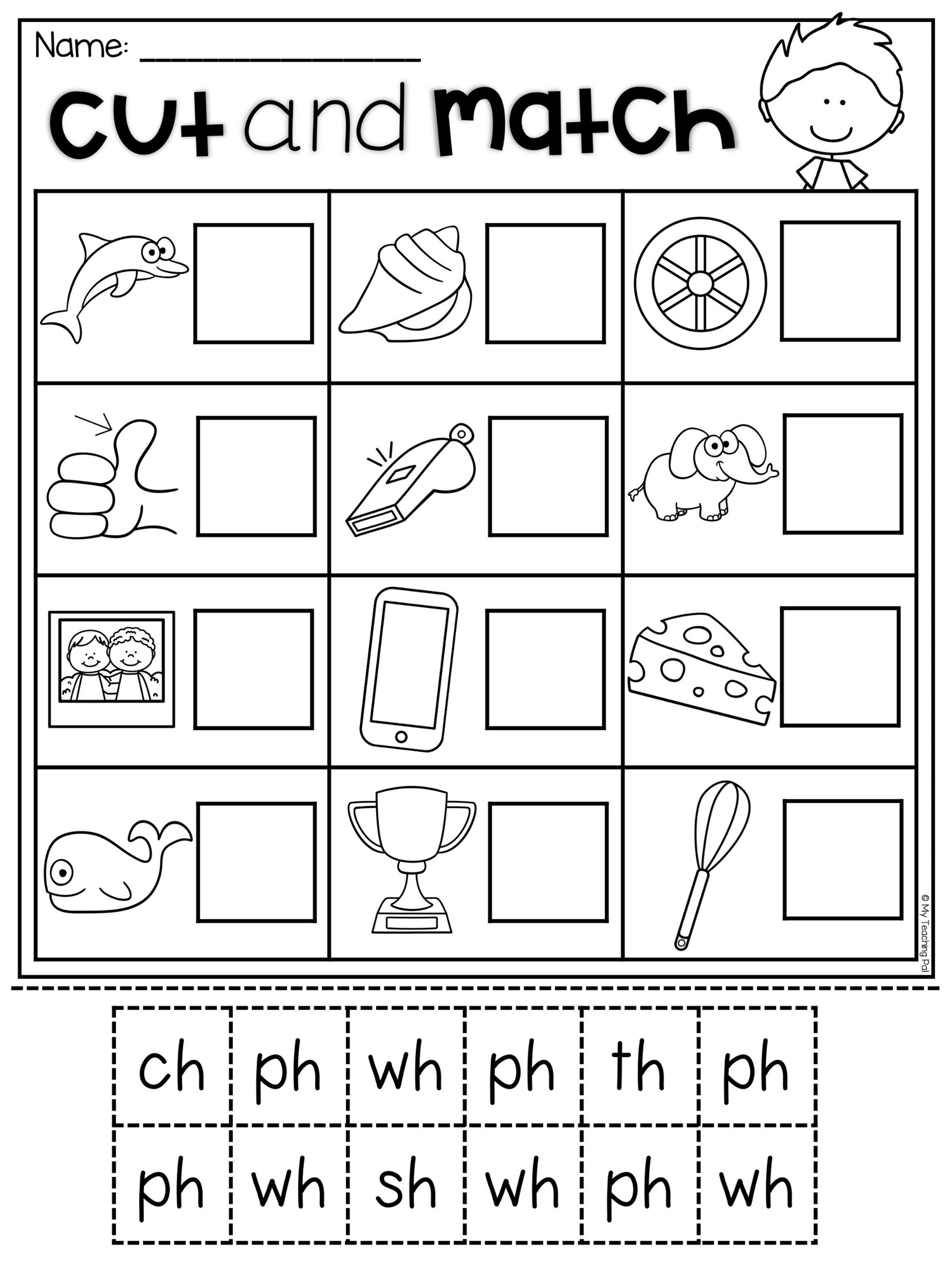 Digraph Match Worksheet For Ch Sh Th Ph And Wh This