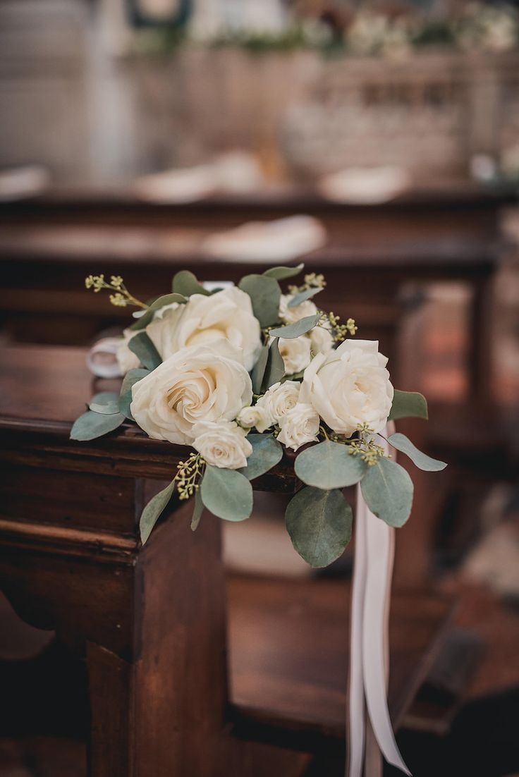 rose and eucalyptus church decor weddingflowers  Love is in the air  Wedding ceremony
