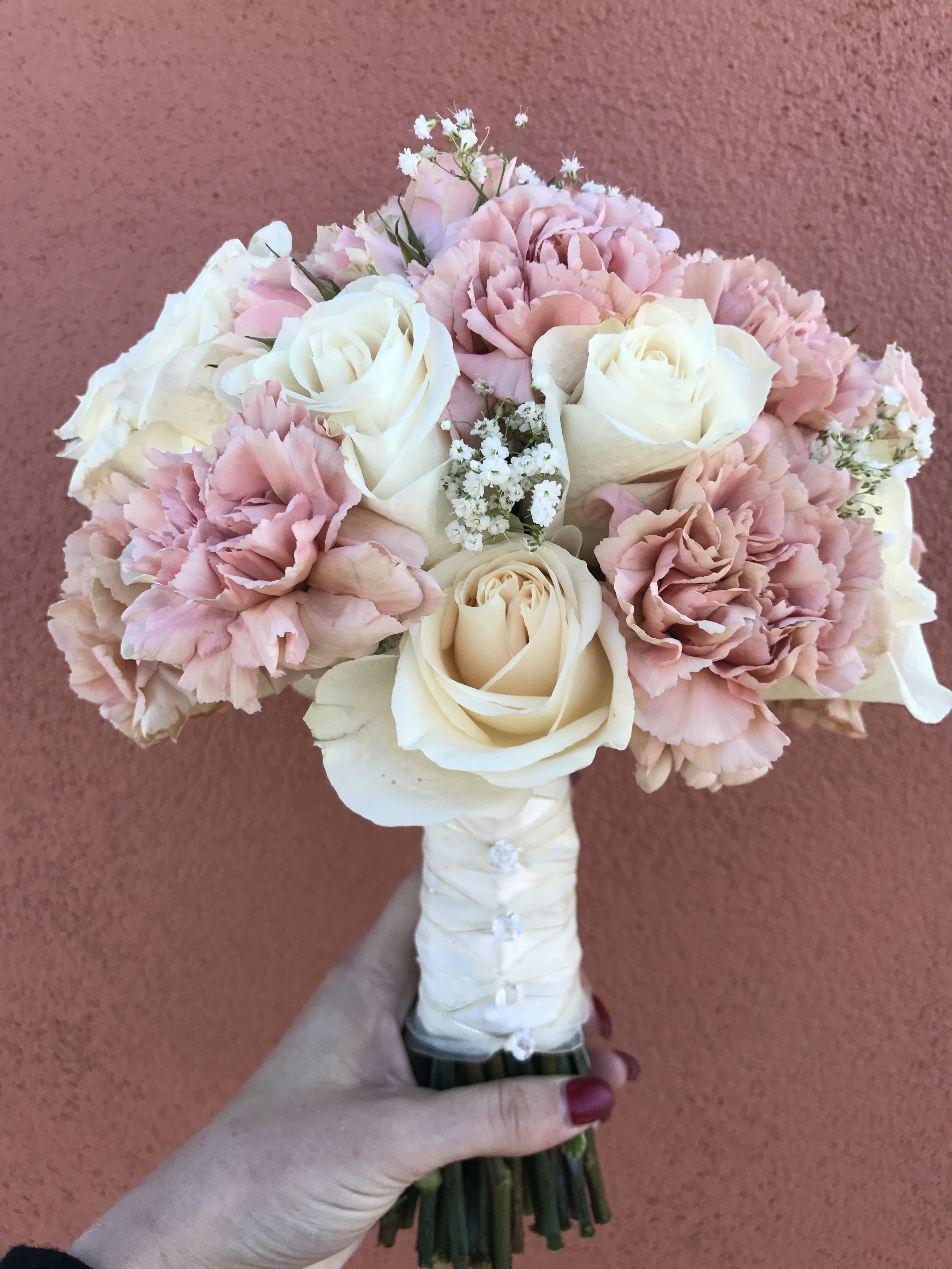 Bridal Bouquet Roses Carnations And Baby S Breath Carnation Wedding Carnation Wedding Flowers Flower Bouquet Wedding