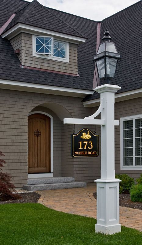 Lamp post with sign  Love the house too  But if I had this lamp post     Lamp post with sign  Love the house too  But if I had this lamp post I d  have the lantern the same color as the pole