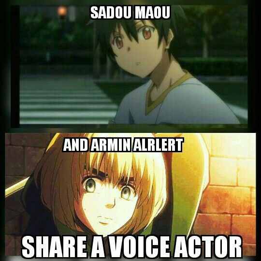 sadou maou from the devil is a part timer and armin alrlert from