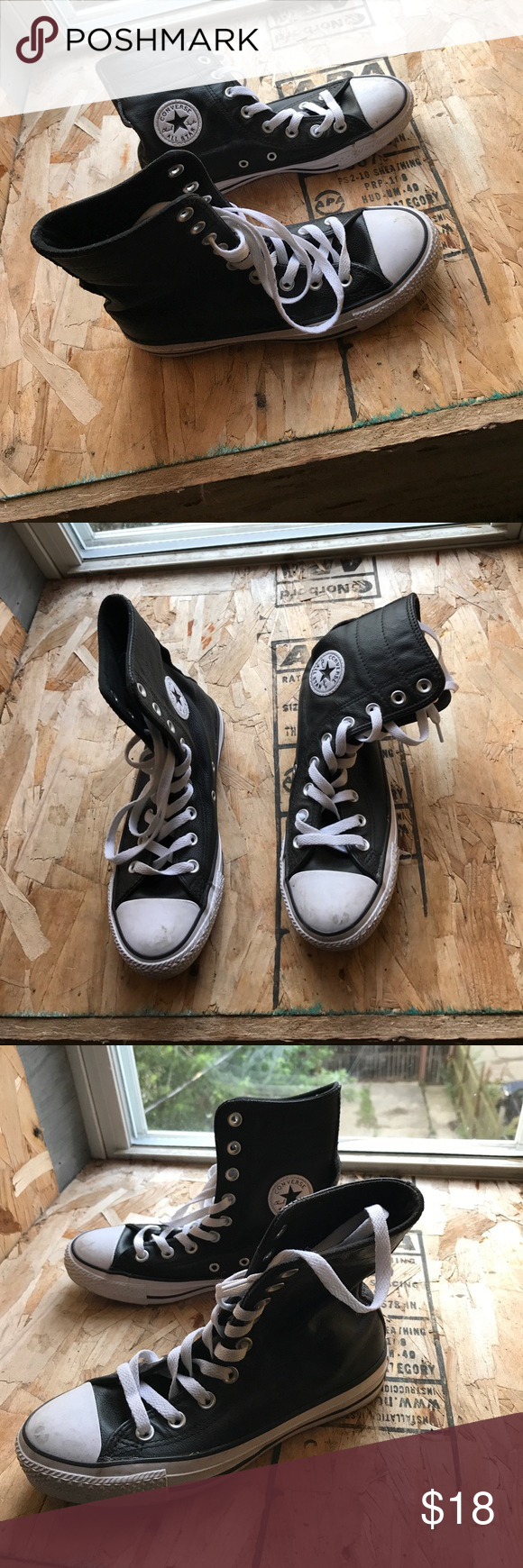 Black & White Converse High Top Converse. Needs to be wiped down. Great condition. Converse Shoes Sneakers