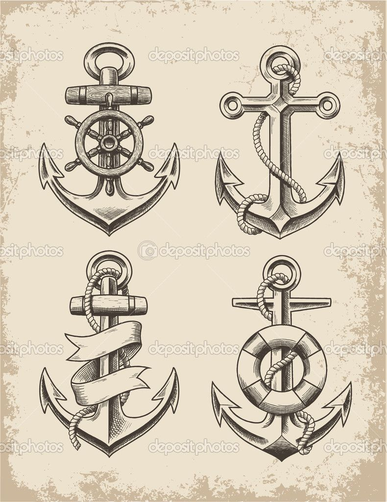 Hand Drawn Anchor Set Hand Drawn Anchor Set — Vector by m.j.h1nkle