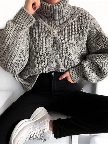 Fashion Women's Solid Color Turtleneck Sweater – Clothing