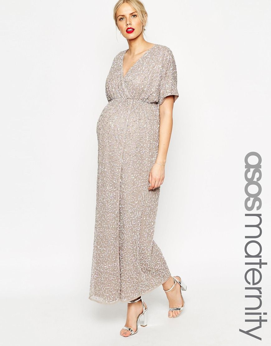 8 months pregnant wedding wear asos maternity kimono maxi dress maternity dress by asos maternity mid weight sequinned mesh fully lined stretch empire line front wrap detail button keyhole back designed to fit through ombrellifo Image collections