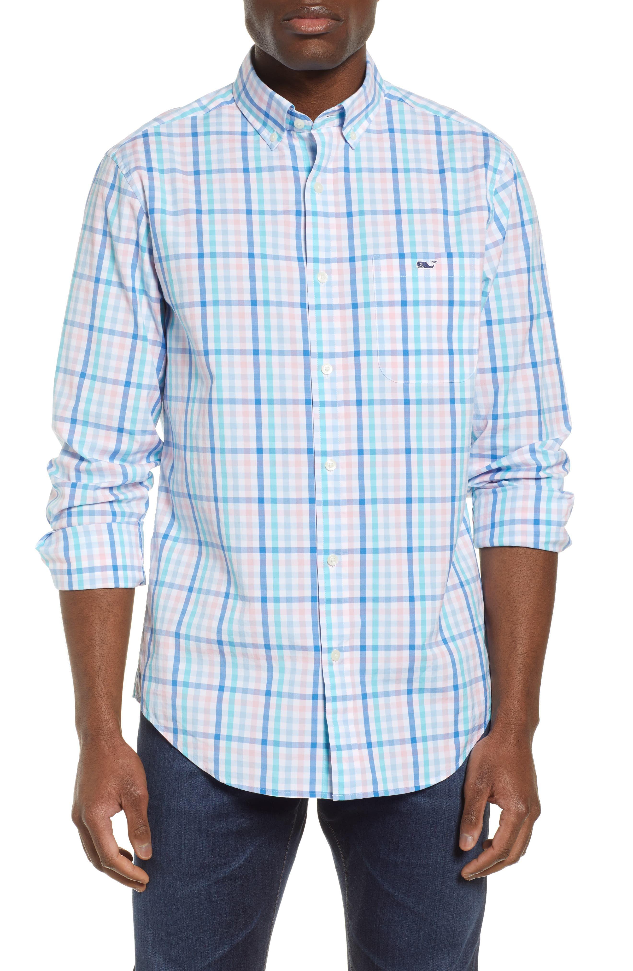 4c7bdc2feb Men's Big & Tall Vineyard Vines Atala Tucker Regular Fit Tattersall Sport  Shirt, Size 3XB - Pink