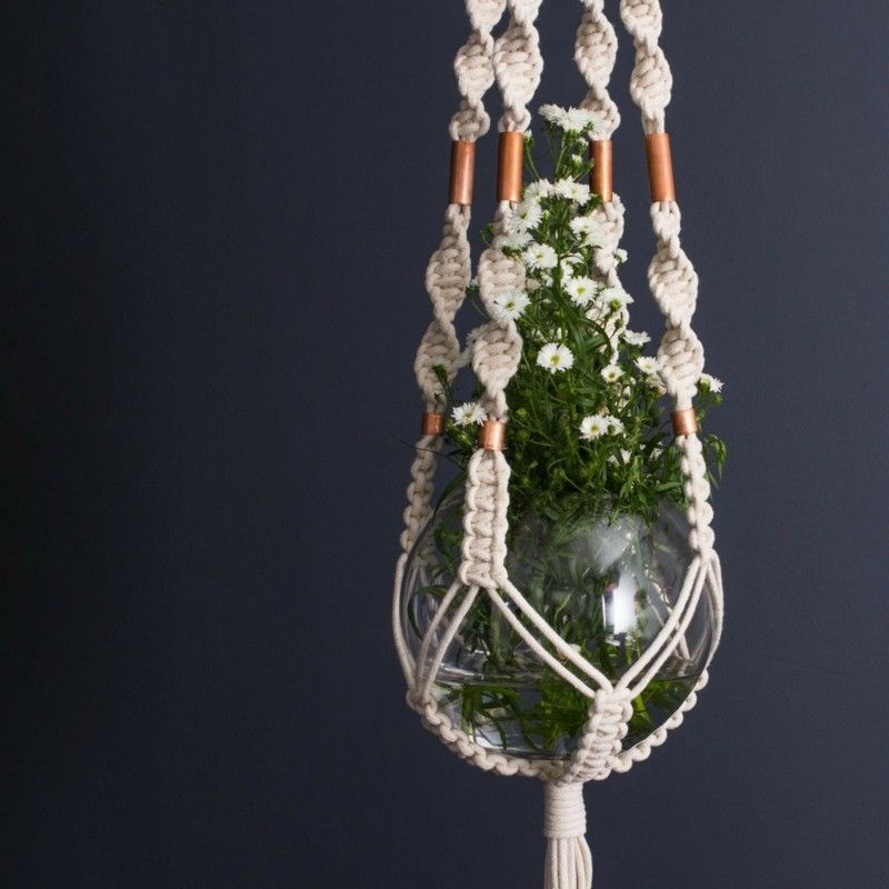 makramee blumenampel in form einer vase makramee pinterest hanging plant plant hangers. Black Bedroom Furniture Sets. Home Design Ideas