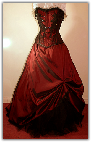 dark red victorian style dress  corsets and victorian