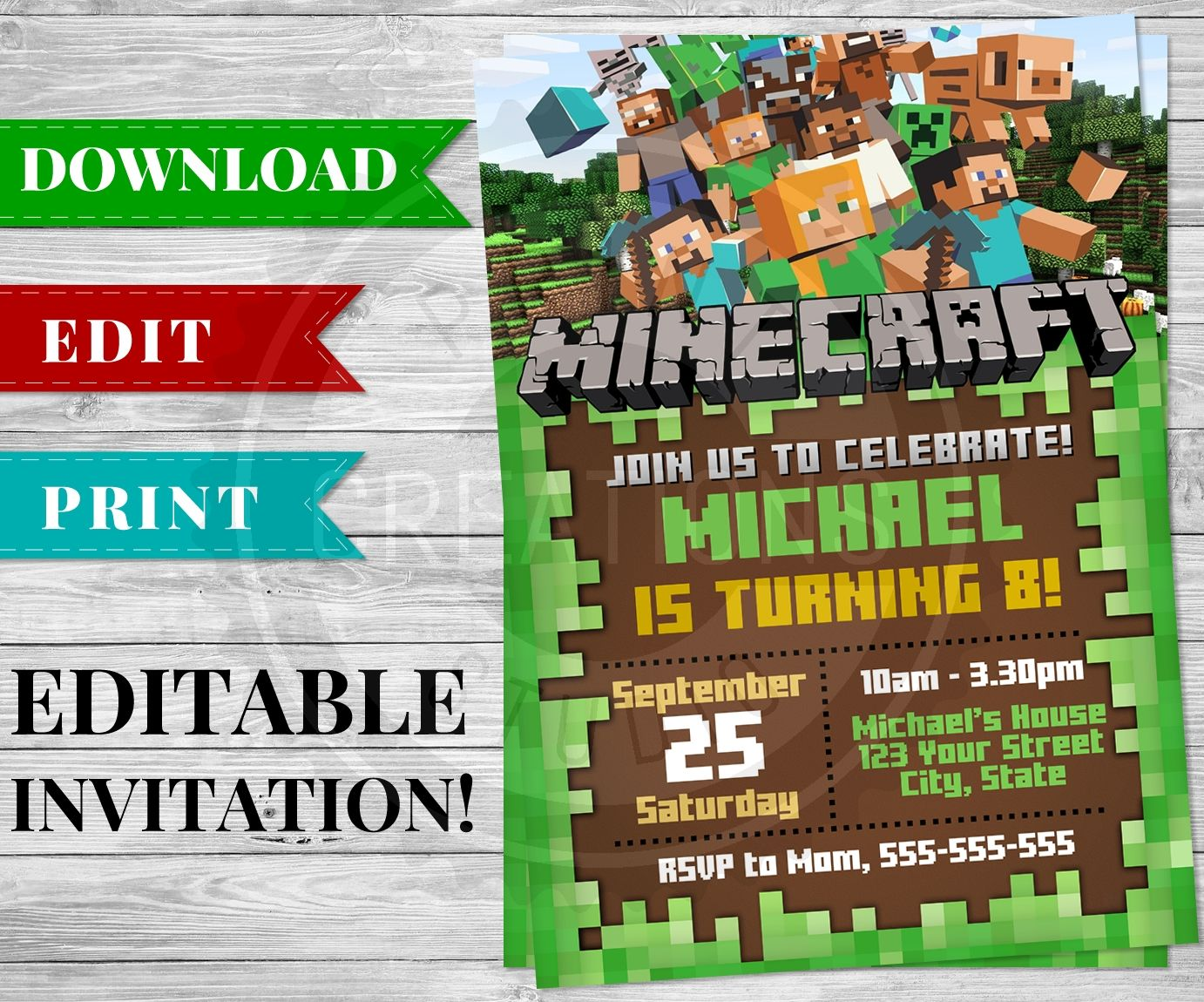 Printable Minecraft Invitation PDF - Minecraft Birthday Party