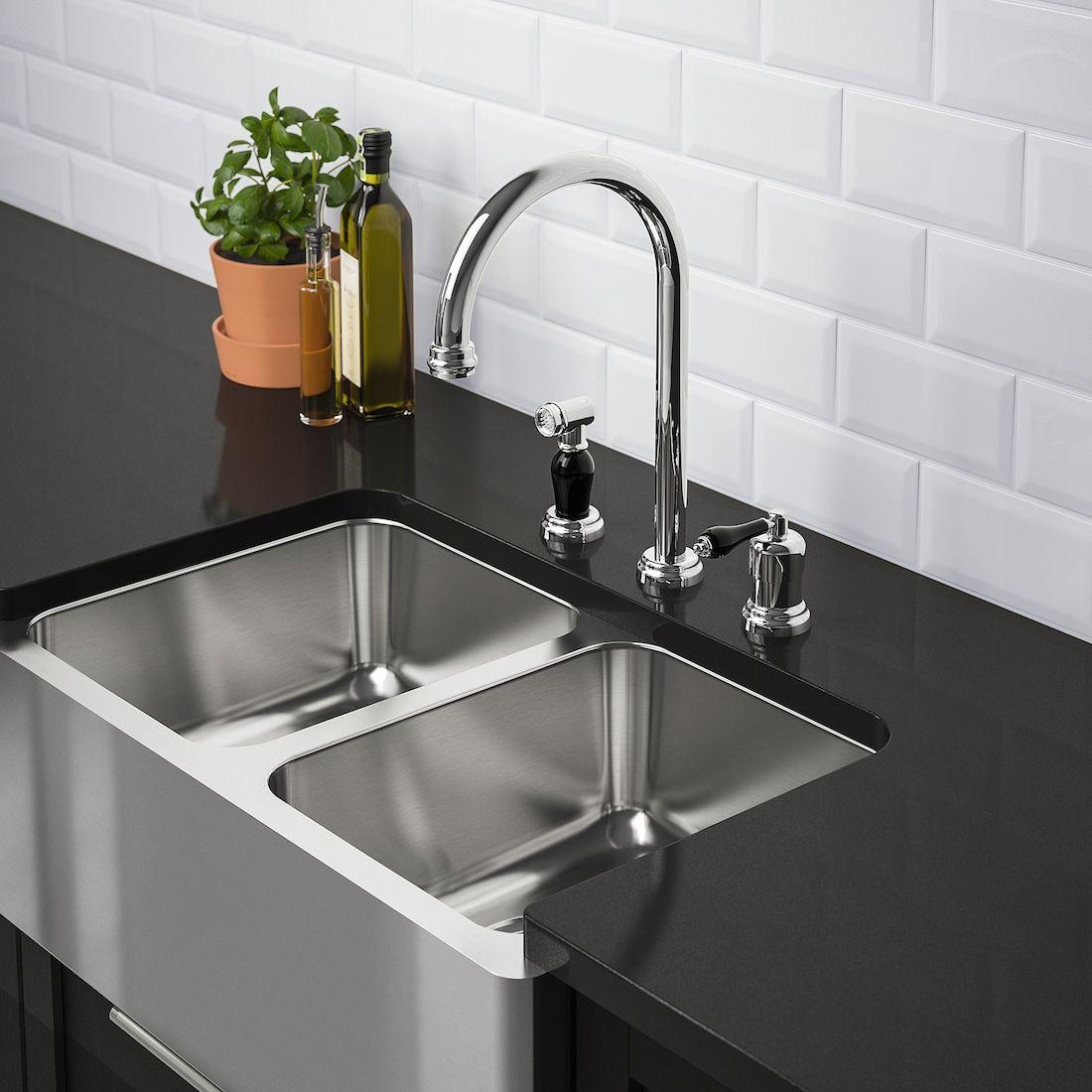 Bredsjon Apron Front Double Bowl Sink Under Glued Stainless