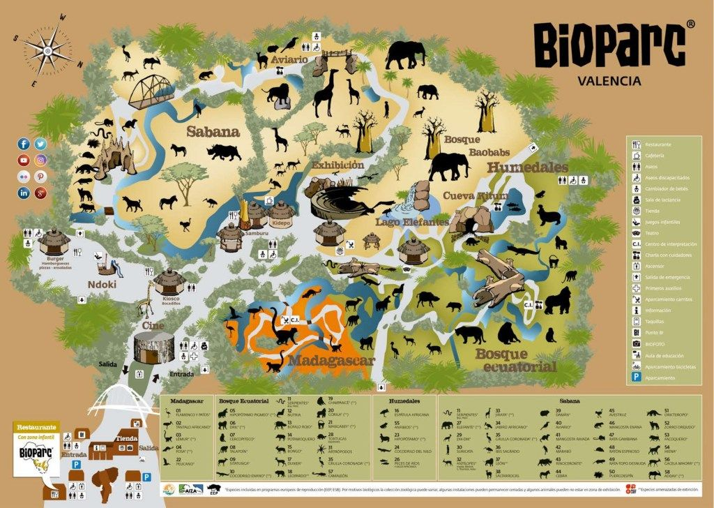 Valencia Bioparc Map Guide Maps Online Valencia Bioparc Map Zoo Map Valencia Zoo