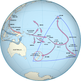 One set of arrows point from taiwan to melanesia to fijisamoa and one set of arrows point from taiwan to melanesia to fijisamoa and then to gumiabroncs Choice Image