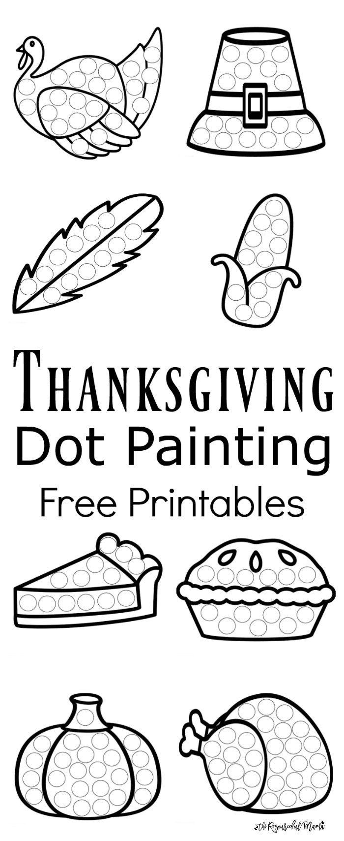 these thanksgiving dot painting worksheets are a fun mess free painting activity for young kids that