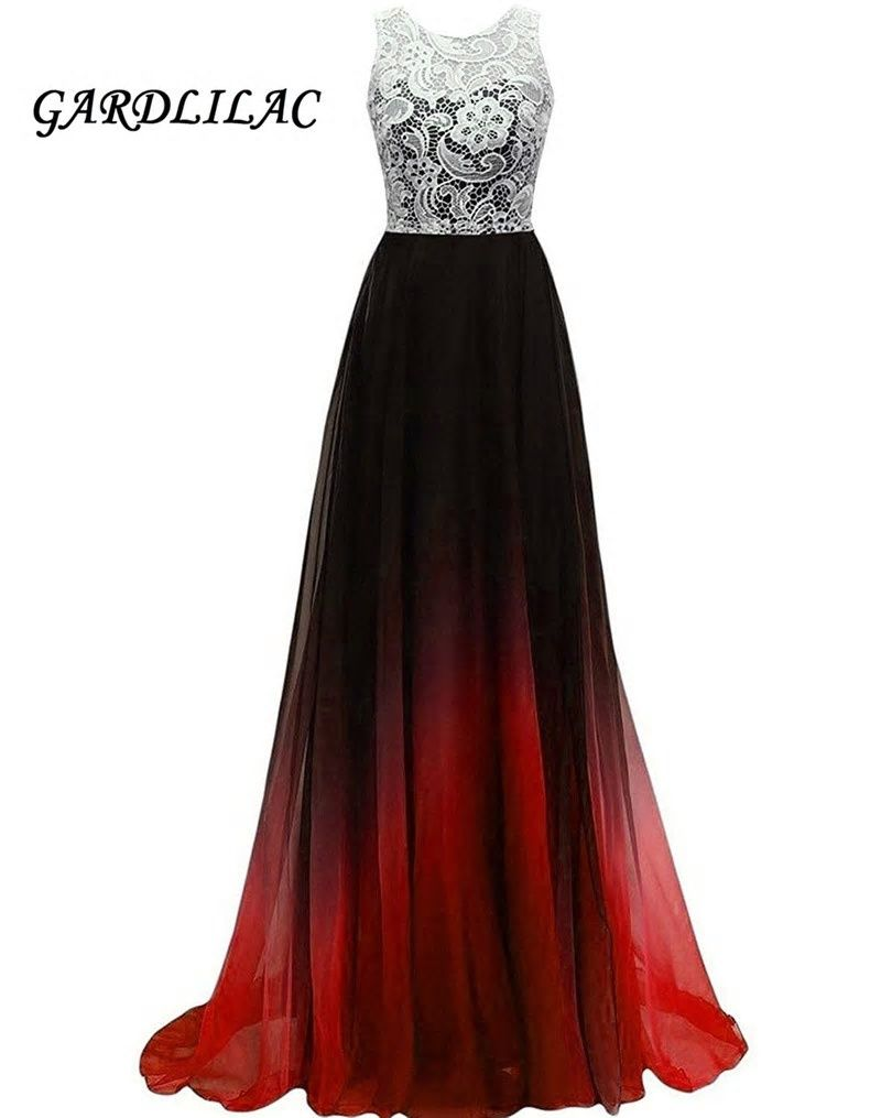 Top Lace Chiffon Ombre Prom Dresses Vestido Longo Backless bridesmaid gown  Prom Dresses Beaded G074 0a641e54cb3b