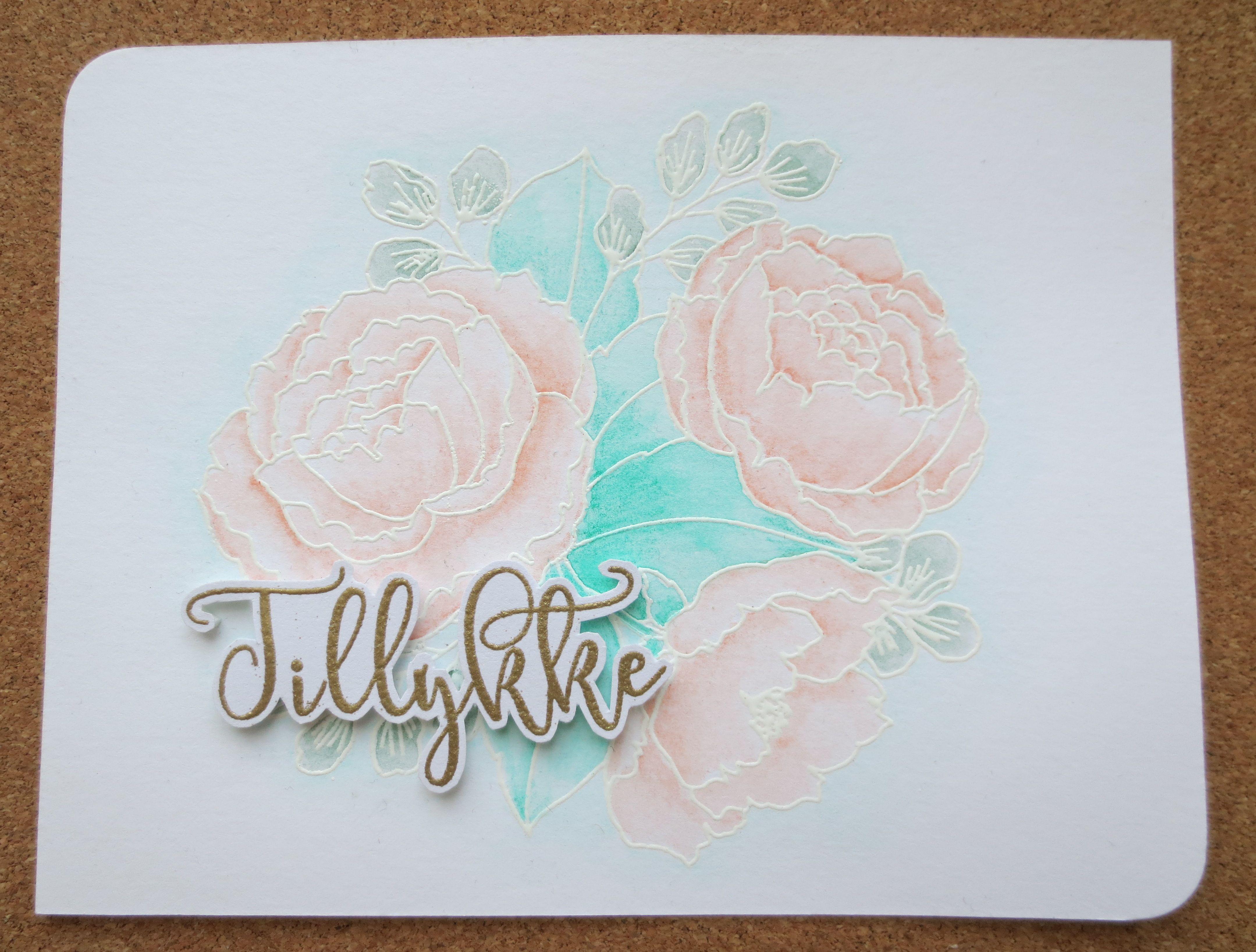 Handmade card prima watercolor pencils mama elephant organic