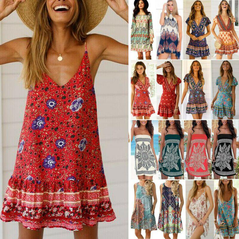 Damen Boho Blumen Hippie Minikleid Strandkleid Sommerkleid Kaftan Freizeit Kleid Rotes Kleid Ideen Von Rotes Kleid Rot Sommerkleid Strandkleid Modestil