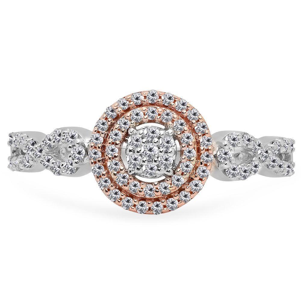 Angara Split Shank Brown and White Diamond Square Cluster Ring ih2sx4