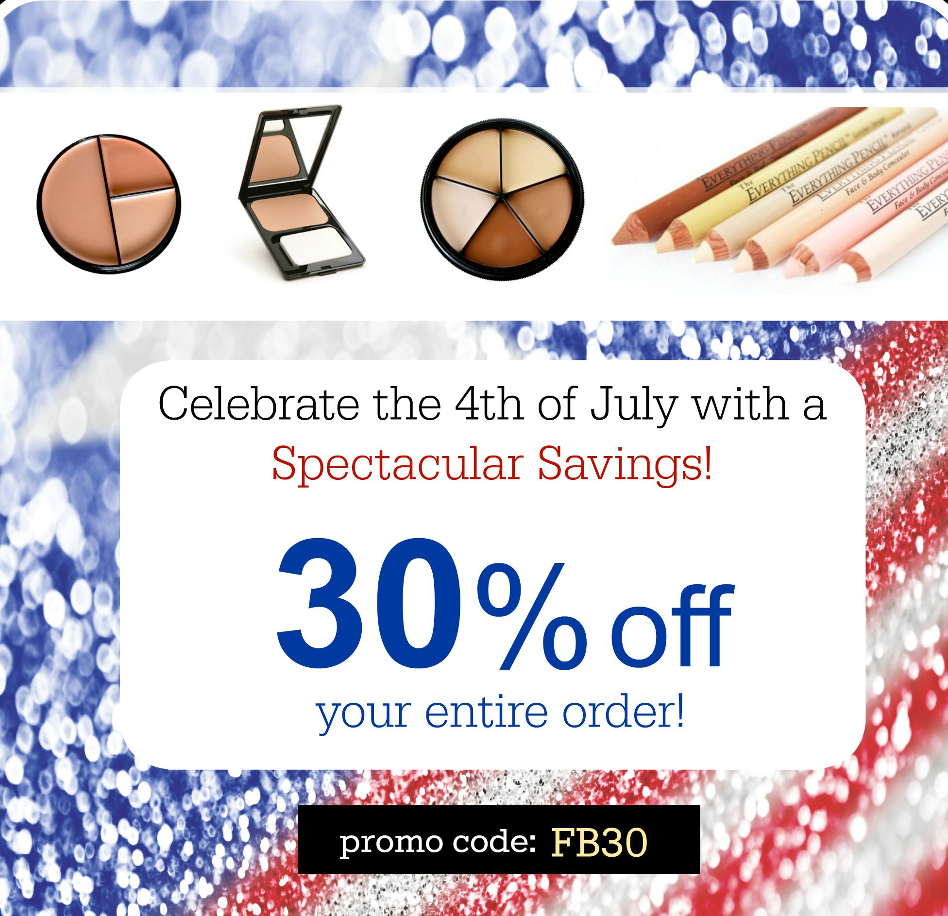 30 off your entire order! makeupsale 4thofjuly