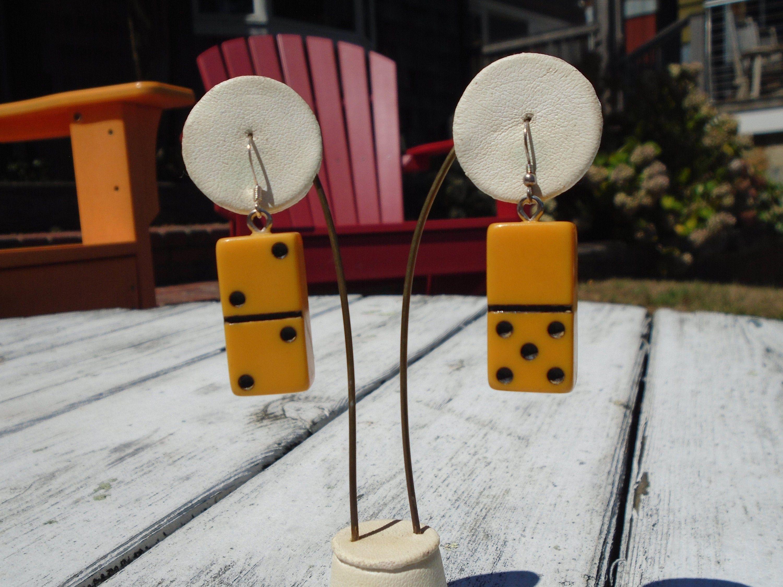 Bakelite Mini Domino Pierced Earrings Re-Purposed Bakelite Earrings Simichrome Tested Bakelite Dangle Earrings Mini Domino Fun Game Jewelry #BakeliteJewelry #GamePieceEarrings #BakeliteEarrings #RepurposedVintage #BakeliteGamePiece #PiercedEarrings #BakeliteMiniDomino #GamePieceJewelry #RepurposedBakelite #OoakEarrings