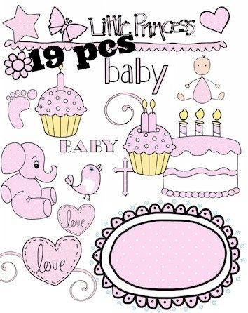Baby Girl Pink 19pc set Little Princess Polkadot Birthday cake cupcakes Adorable Clipart for Nursery Scrapbook Invitations Digital Download