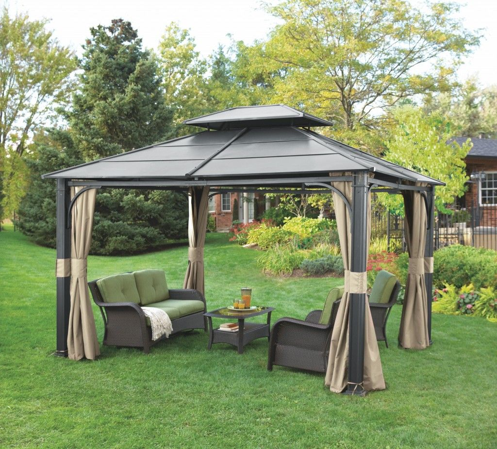 Wonderful Hardtop Gazebo For Backyard Ideas Iron With Sofa Sets And Chandelier On