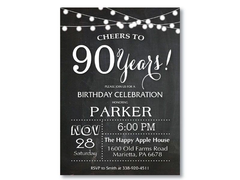 90th Birthday Invitation. Chalkboard 40th 50th 60th 70th 80th Any ...