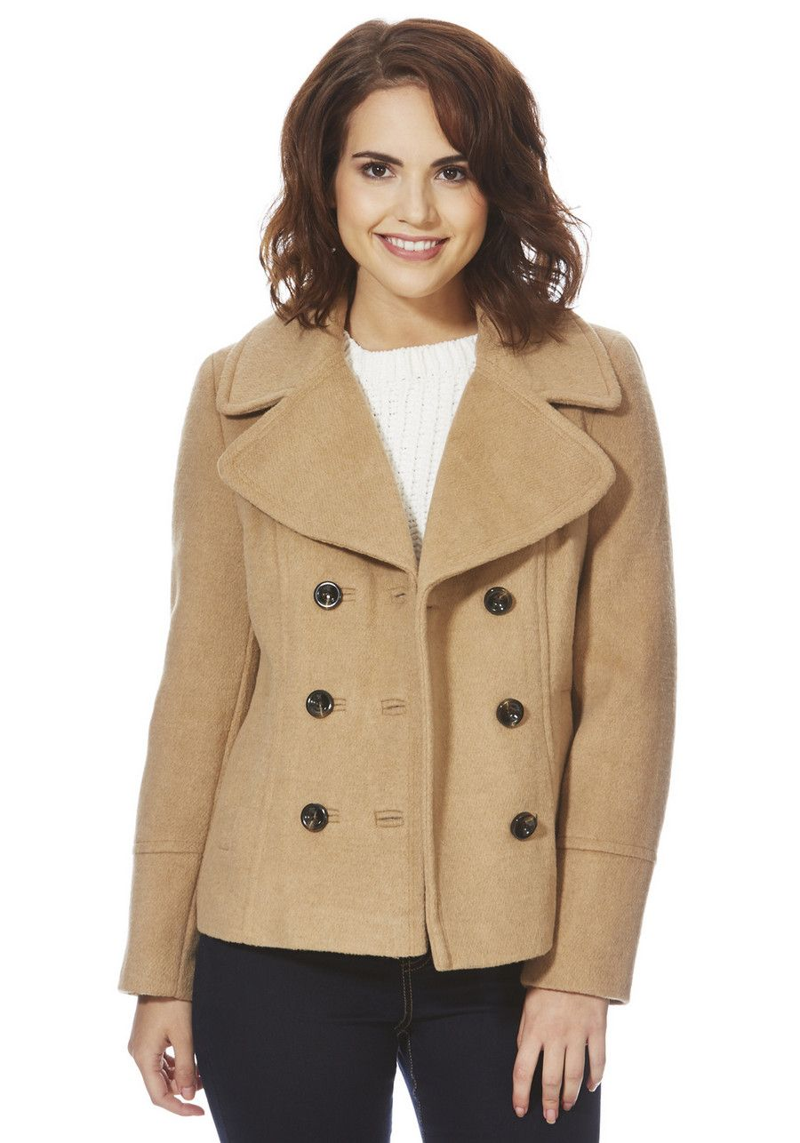 069c5d5d Clothing at Tesco | F&F Double Breasted Short Peacoat with Wool > coats >  Coats & Jackets > Women
