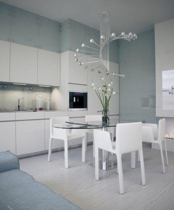 Alexander Lysak Visualization- open plan kitchen dining with modern chandelier