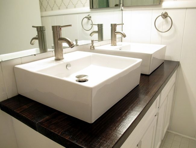 White Vessel Sinks And Stained Wood Countertop Live The Home Life