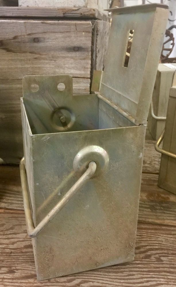 EBay #Sponsored VINTAGE INDUSTRIAL HEAVY METAL STORAGE CONTAINER BIN W/LID  (20 AVAILABLE)