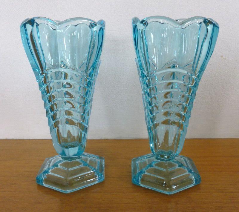 Davidson Chevron Art Deco Vintage Blue Pressed Glass Vases X 2 In