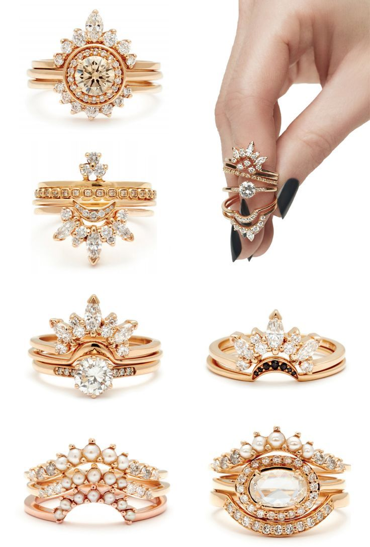 Diamonds And Pearls Nesting Bands Stacking Ring Sets And