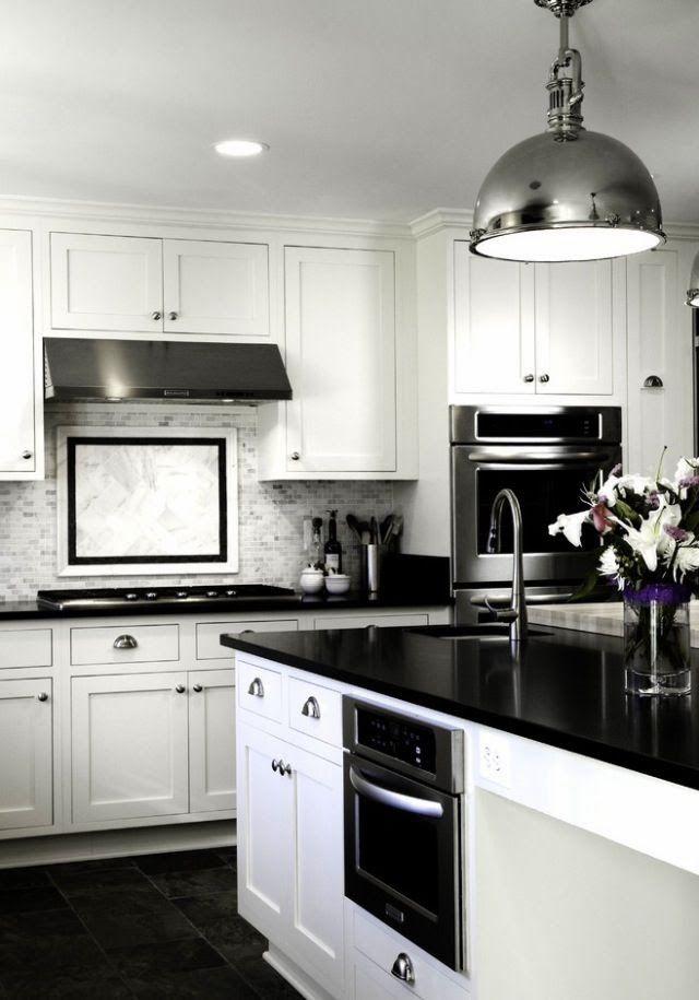 Kitchen with suspension lighting, Elle Decor   wwwkenisahome