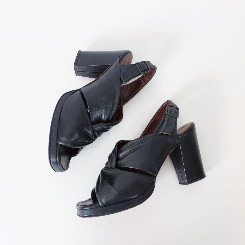 40f01b9f9eb0 SALE   vintage 50s platform heels   1950s black leather heels   stacked leather  heels