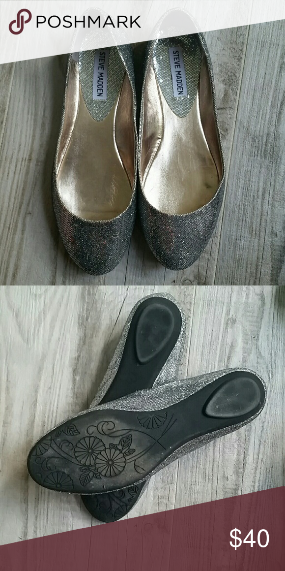 Steve Madden P-heaven flats. Silver.  Very comfortable. Size 8.5.  New Steve Madden Shoes Flats & Loafers