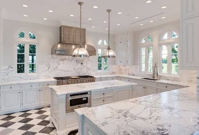 23 White Kitchens Without Wood Floors - Down Leah's Lane
