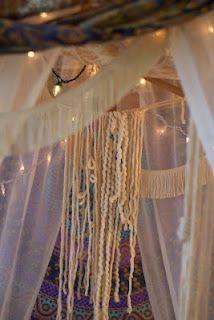 Hang yarn inside of fort