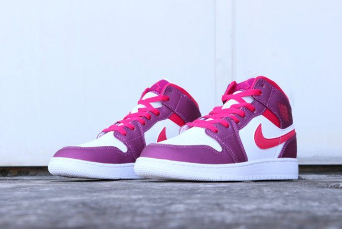 c5ae4b4e169d Girls Air Jordan 1 Mid True Berry Rush Pink Shoes-4