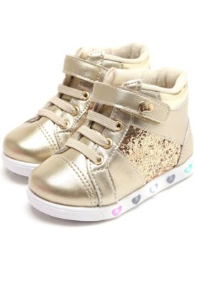 83d5562ff Tênis Casual Pampili Menina Sneaker Dourado