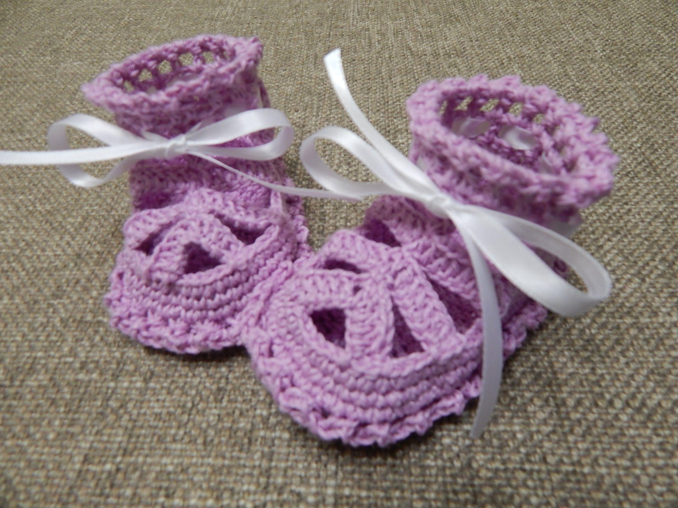 Zapatitos para Niña Crochet | escarpines bebe crochet | Pinterest ...