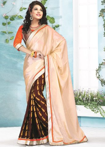 Light Peach and Brown Color Crepe Satin Party Wear Sarees : Neeya Collection YF-23879