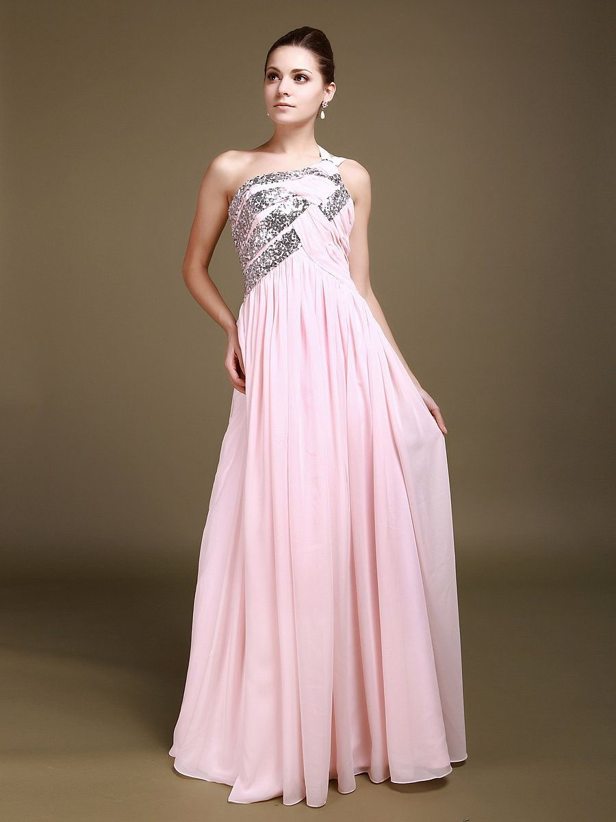 One Shoulder Chiffon A Line Reception Dress with Sequin Details ...