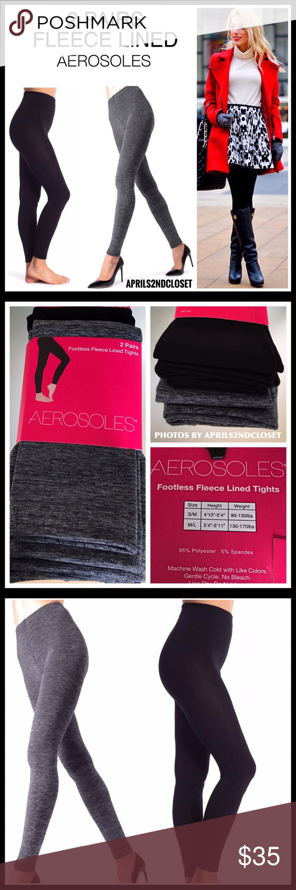 860f4c08e2202a 2 PAIRS FLEECE FOOTLESS LEGGING TIGHTS 2 PAIRS FLEECE LINED FOOTLESS TIGHTS  - LEGGINGS BRAND- AEROSOLES COLOR- Black, Marled Charcoal Grey SIZING S/M  ...